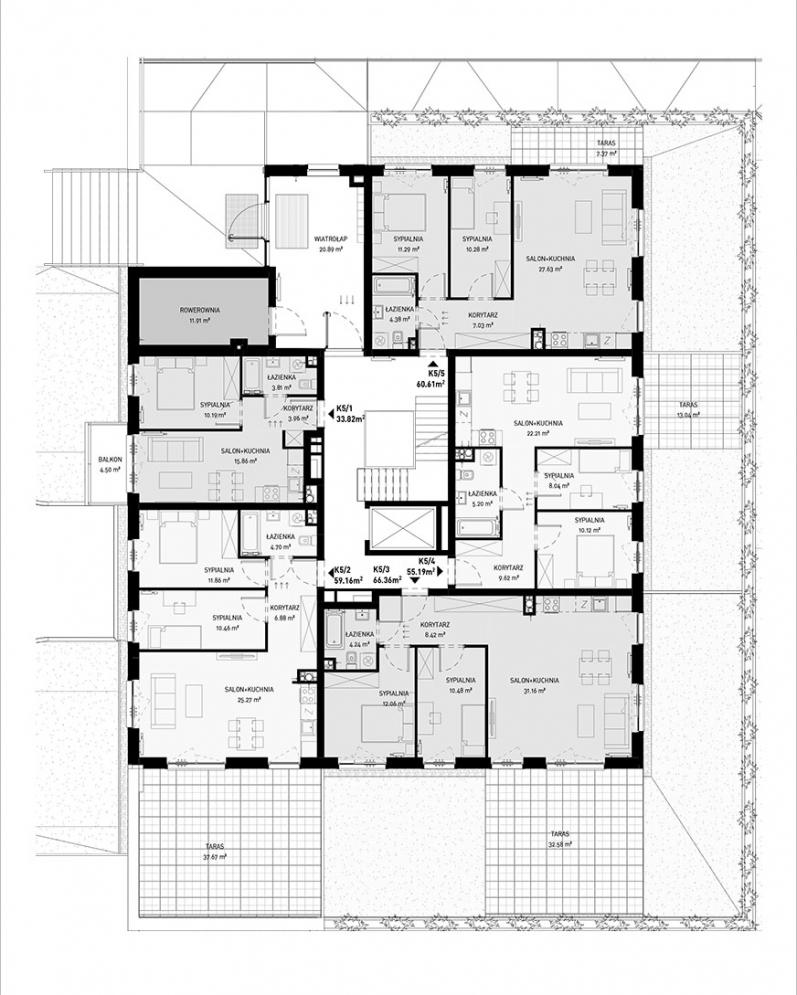 NOWA ZATORSKA - Budynek E - Zakończenie budowy 30.09.2021 r. - Parter