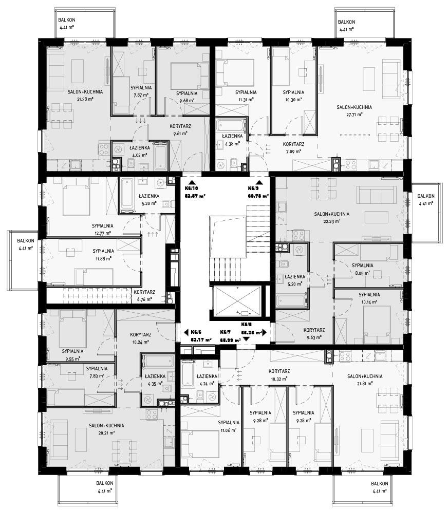 NOWA ZATORSKA - Budynek F -Budowa zakończona 30.12.2020 r. pozwolenie na użytkowanie - Piętro 1-ostatnie wolne mieszkanie ok.61 m2