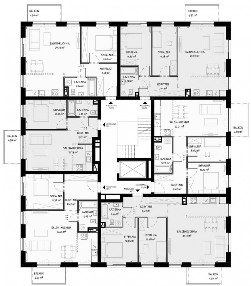 NOWA ZATORSKA - Budynek B-Budynek sprzedany - Piętro 2