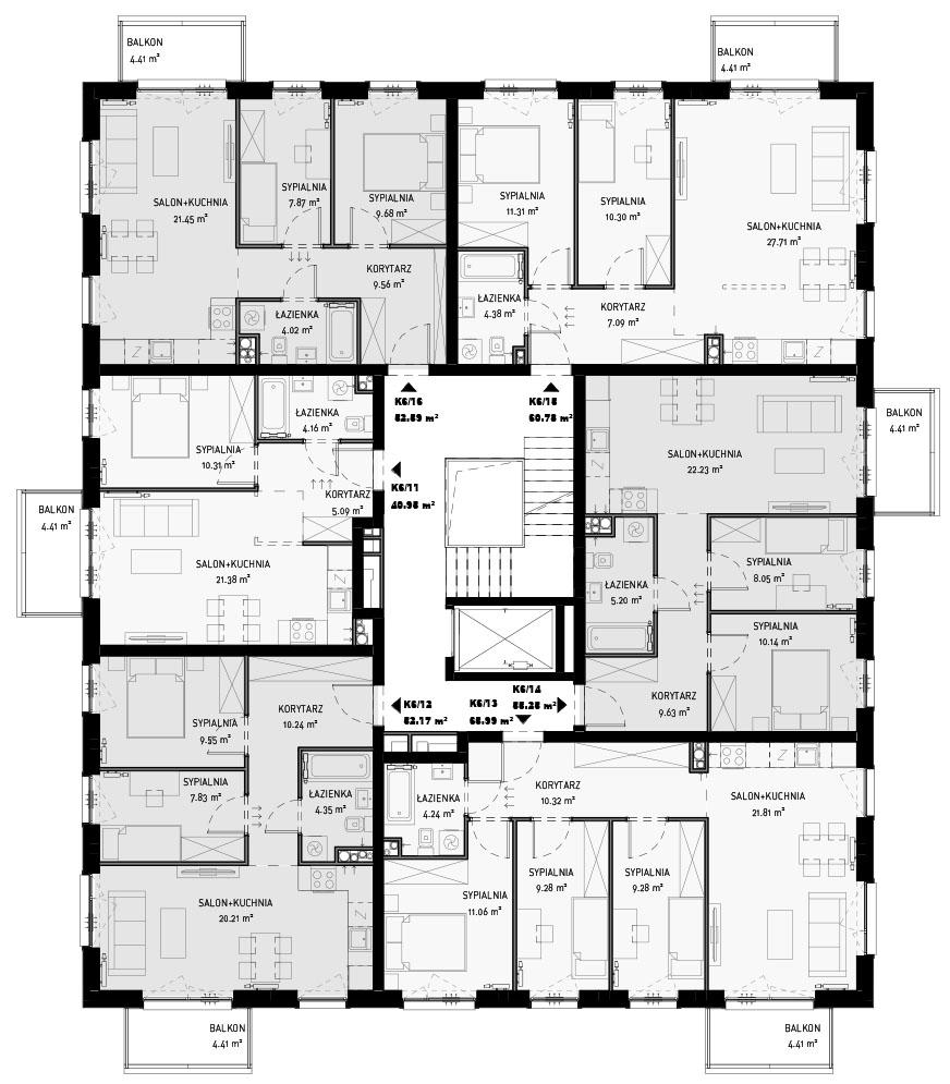 NOWA ZATORSKA - Budynek F -Budowa zakończona 30.12.2020 r. pozwolenie na użytkowanie - Piętro 2- sprzedane