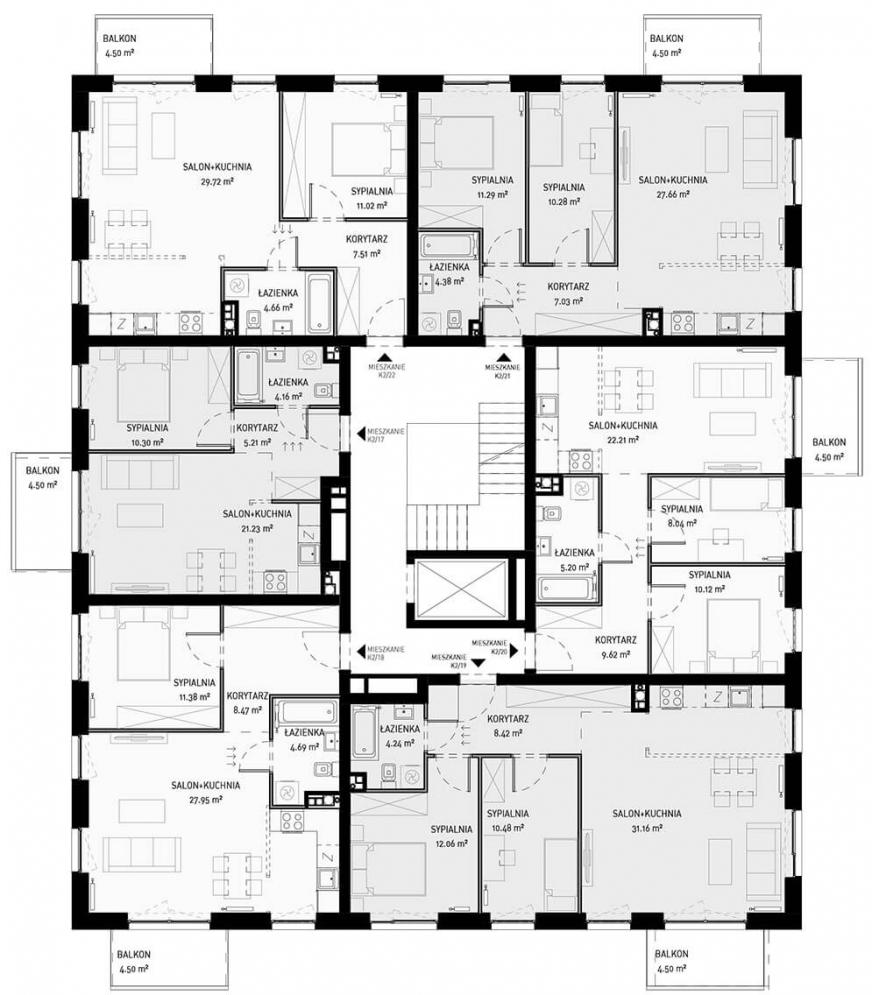 NOWA ZATORSKA - Budynek B-Budynek sprzedany - Piętro 3