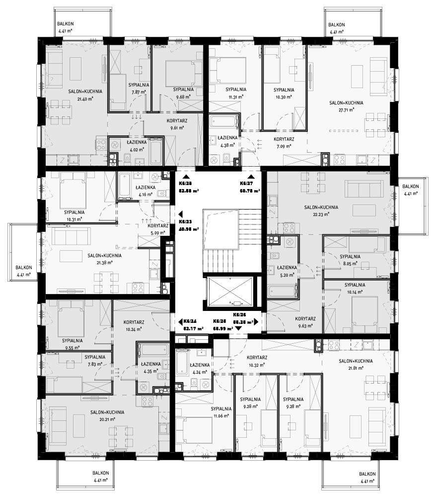 NOWA ZATORSKA - Budynek F -Budowa zakończona 30.12.2020 r. pozwolenie na użytkowanie - Piętro 4 - Ostatnie wolne mieszkanie ok.61m2